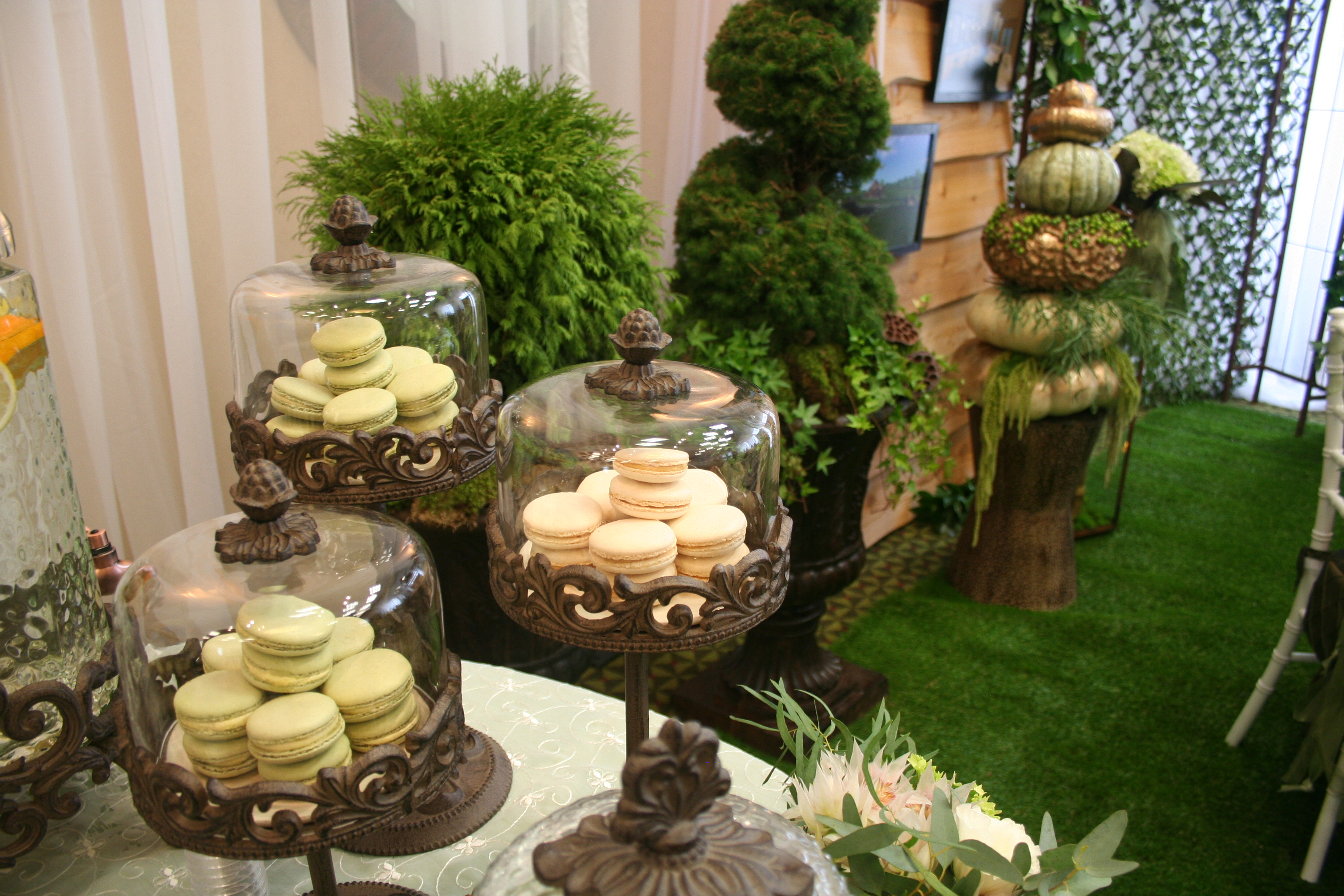 Gold Pumpkins Live Moss Table Runner French Macaroons