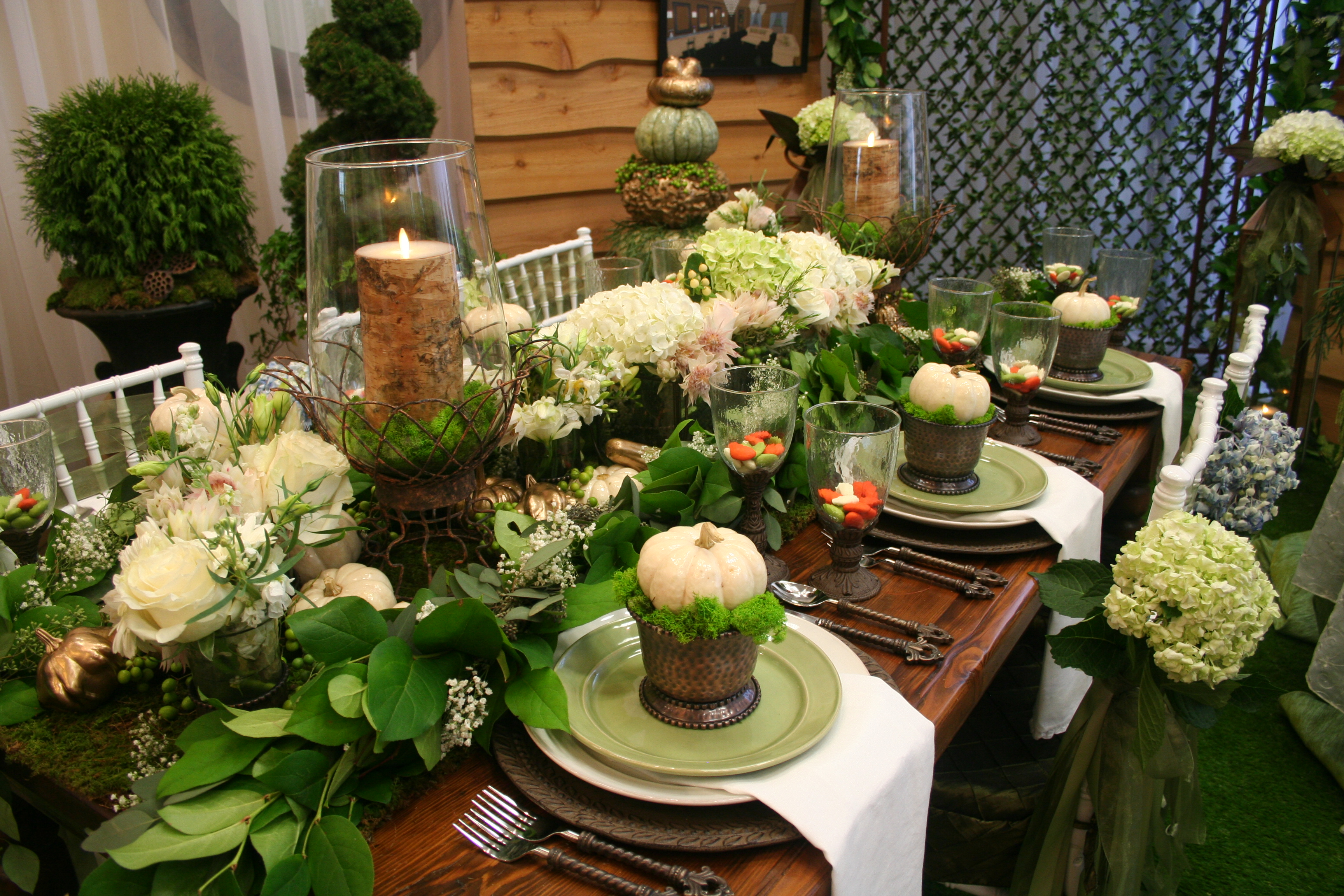 Fall Tablescape With Mini White Pumpkins